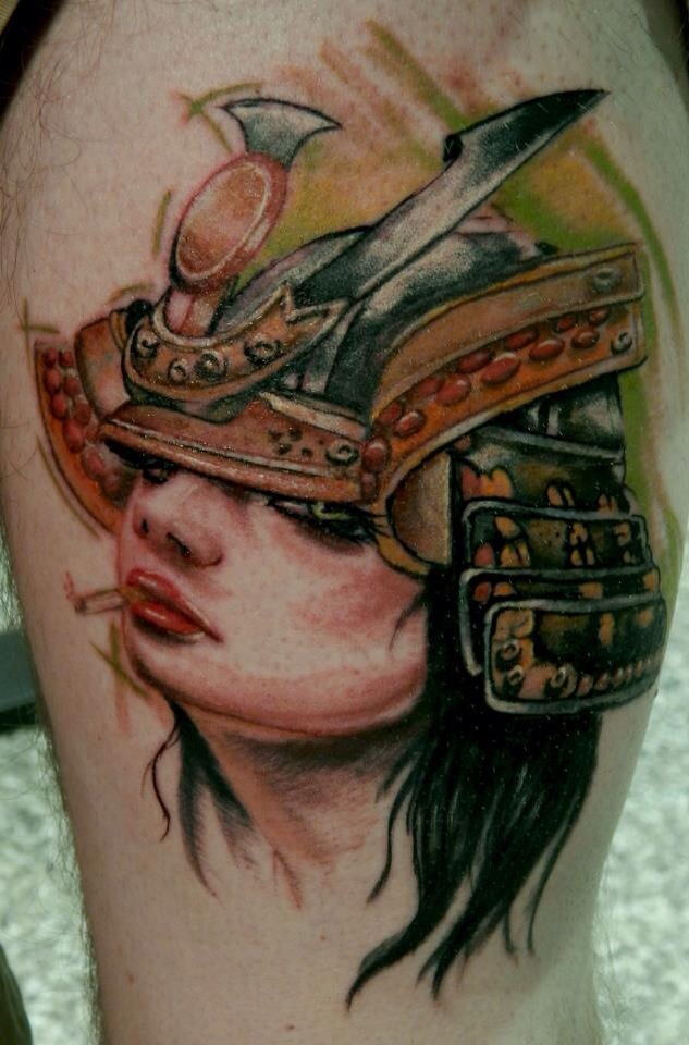 female samurai tattoo by rick barnett by fineinkstudios on