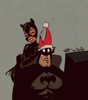 Batman and Catwoman - Holidays Cartoon PinUp - WIP by HugoTendaz