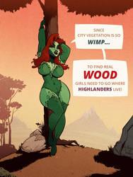 Poison Ivy - Wood - Cartoon PinUp