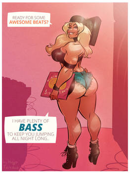 Jessy - Plenty of Bass - Cartoon PinUp Commission