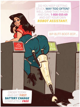 Robot Assistant - Cartoon PinUp Sketch Commission