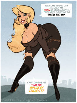 Lady - Big Influx - Cartoon PinUp Sketch (Commiss)