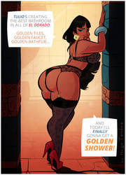 Chel - Golden Shower - Cartoon PinUp Commission