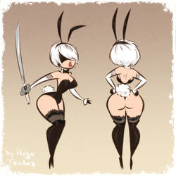 2B - Bunny Girl - NieR:Automata - Cartoony Sketch by HugoTendaz