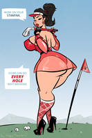 Golfing Around - Cartoon PinUp Commission by HugoTendaz