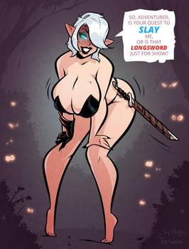 Elf Ophelia - Slay - Cartoon PinUp Commission