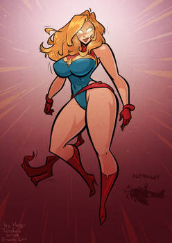 Captain Marvel - Outrage - Cartoon PinUp