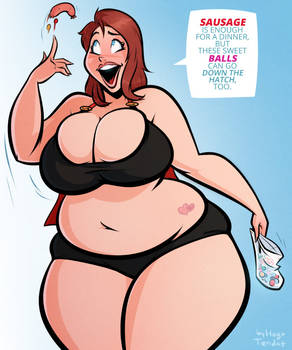 Becky - Down The Hatch - Cartoon PinUp Commission