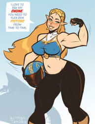 Princess Zelda - Flexing - Cartoon PinUp Sketch