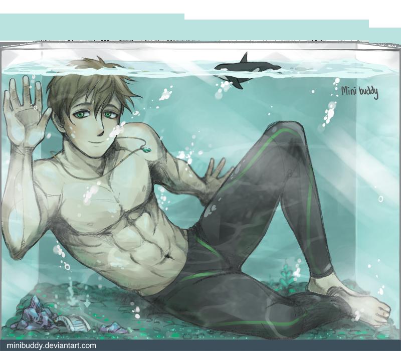 Makoto in The Fish Tank - Free! by minibuddy