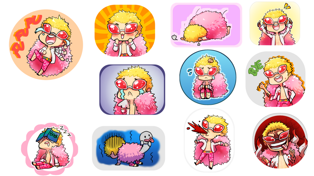 One Piece Doflamingo Sticker Emojis by nanananakirby