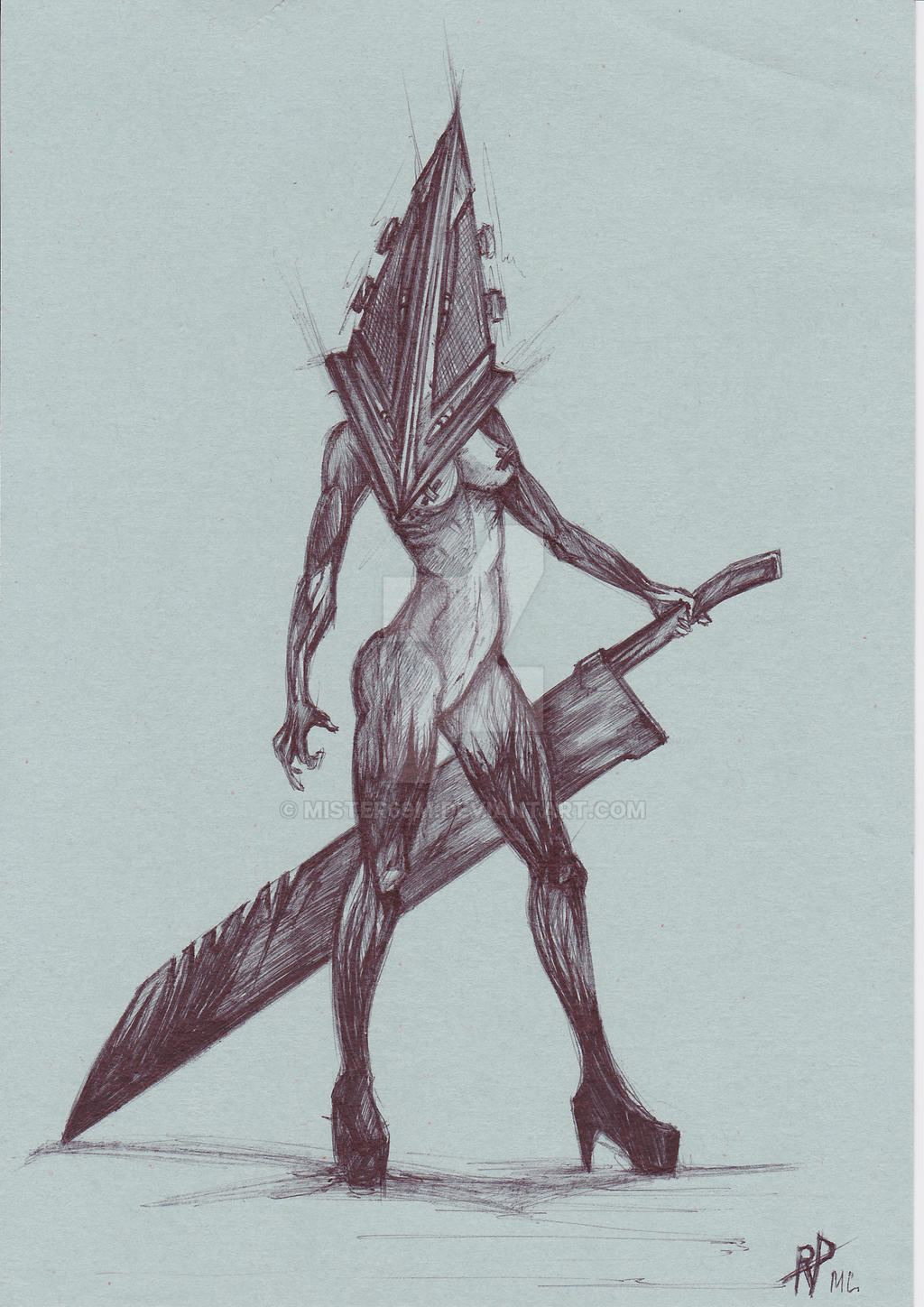 pyramid head girl by mister69m on deviantart