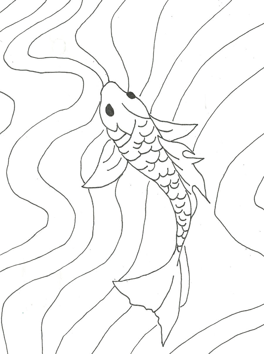 It is a photo of Sizzling Easy Koi Fish Drawing