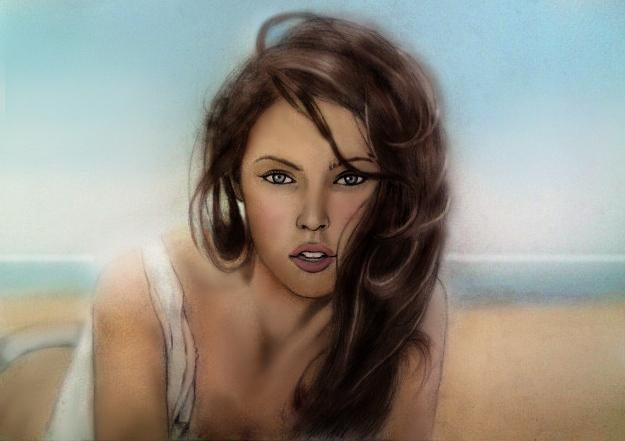 Meganfox Beach Painting by LelouchArt