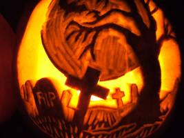 pumpkin graveyard by paintedreamer