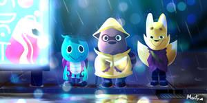Kappa, Tanuki and Kitsune