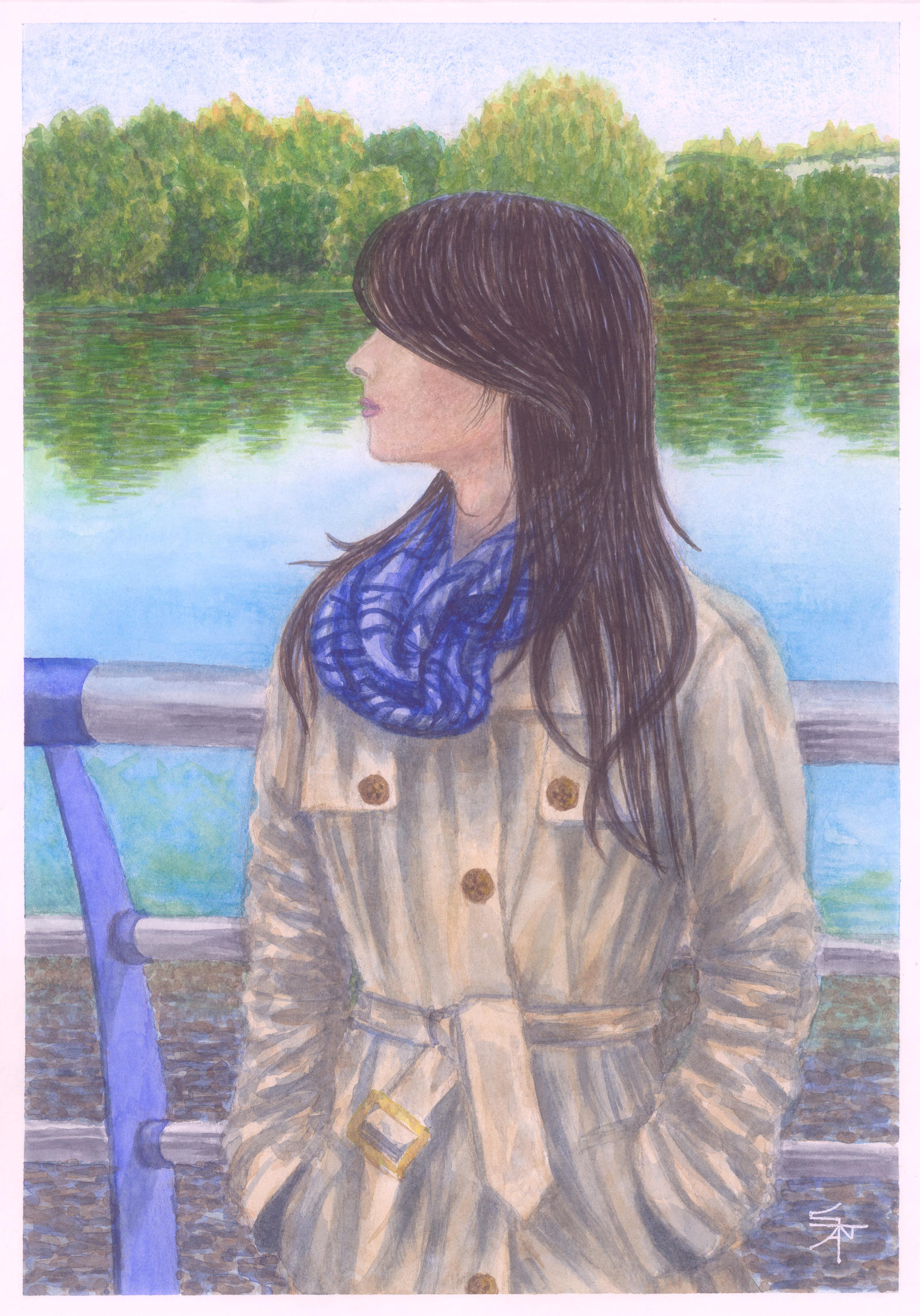 Mysterious girl in front of the river by Cancer--chan on