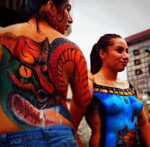 Girls showcasing bodypaint