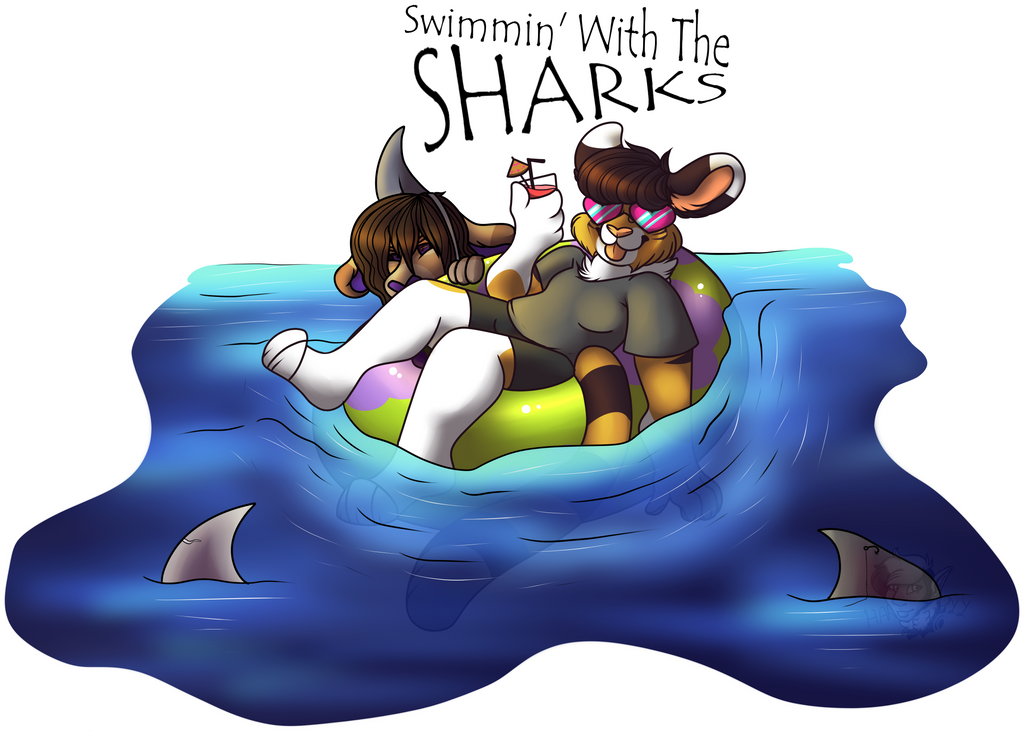 Swimmin W The Sharks [CONTEST ENTRY] by Harpyy