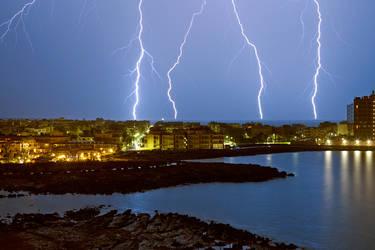 Lightning over Colonia de Sant Jordi by LukasSowada