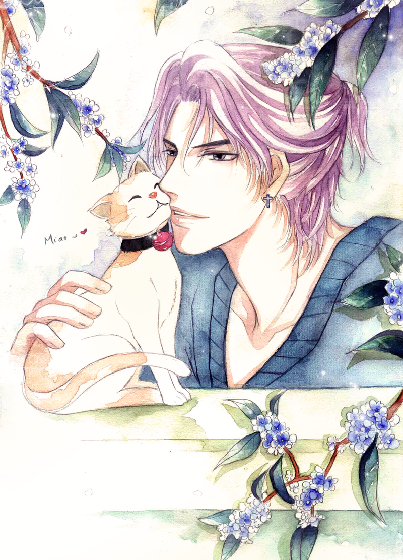 Boy next door with a cat by Yue-Higanbana