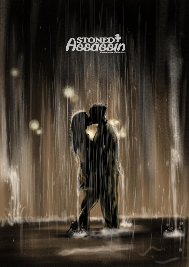 Kissing in the rain by STONEDAssassin69