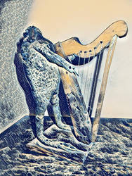 Frog with harp