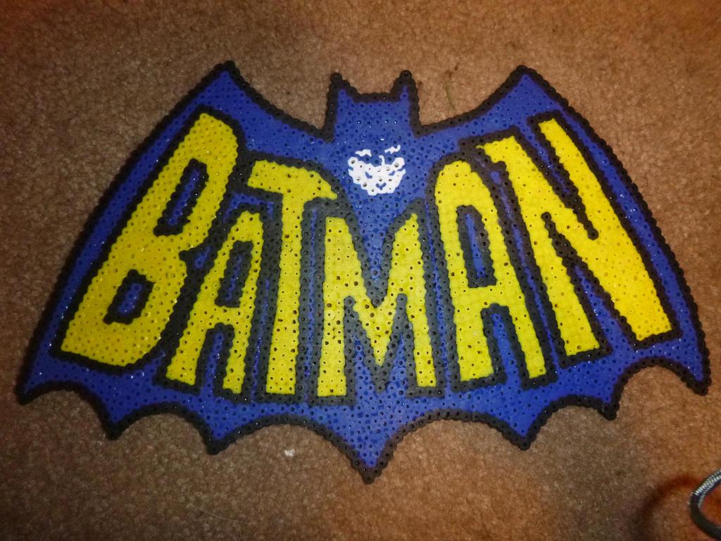 Perler beads custom 1950 s batman logo by pix3lparadis3