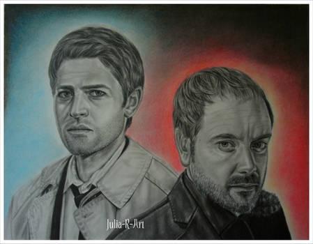 Castiel and Crowley. Supernatural.