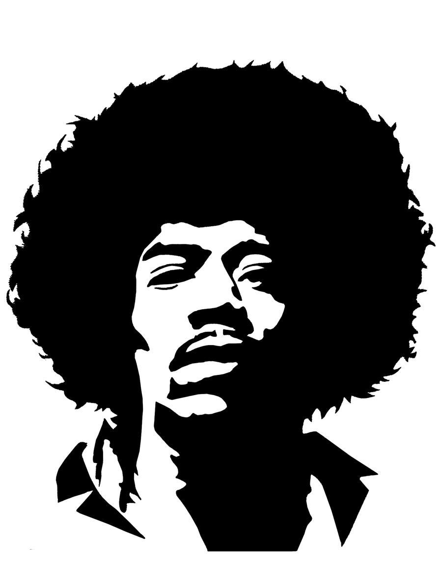 Jimi Hendrix Stencil By Sonatakyaz