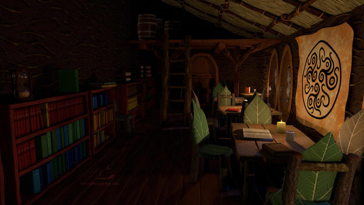 Library, Facing East (Night) by adamlhumphreys