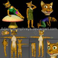 Anthro Female Cat Feline Rigged Cartoon 3D Model