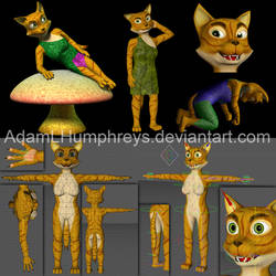 Anthro Female Cat Feline Rigged Cartoon 3D Model