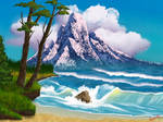 Digital Bob Ross: Mountain by the Sea (S9 Ep. 12)