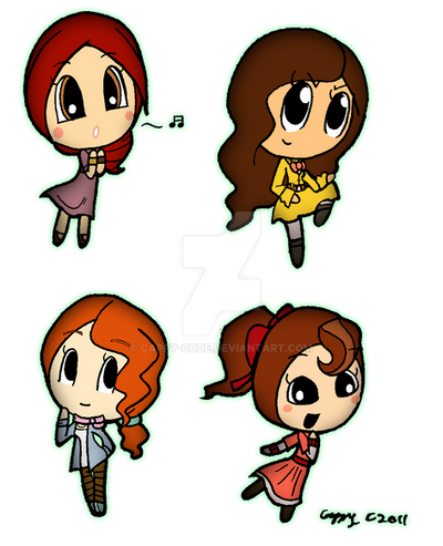Layton girls chibis by capcappucca222