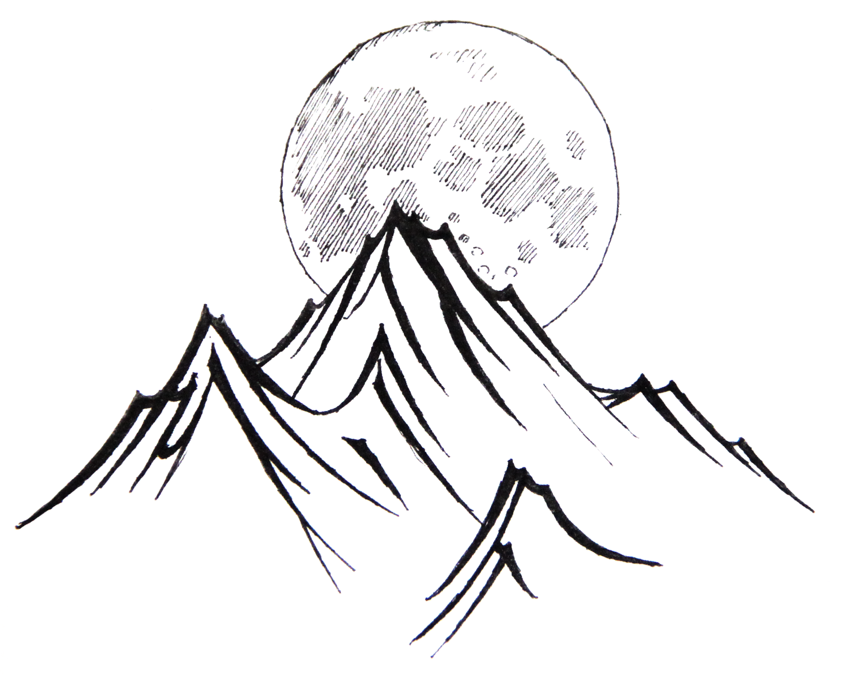 Line Drawing Mountain : Moonlight mountains by haleryan on deviantart