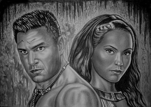 Spartacus-Blood and sand-Crixus and Naevia-gray