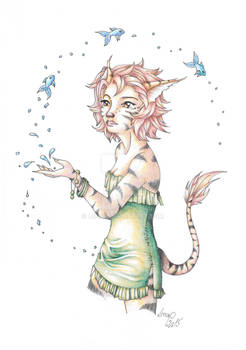 Catgirl playing with fishes - coloured