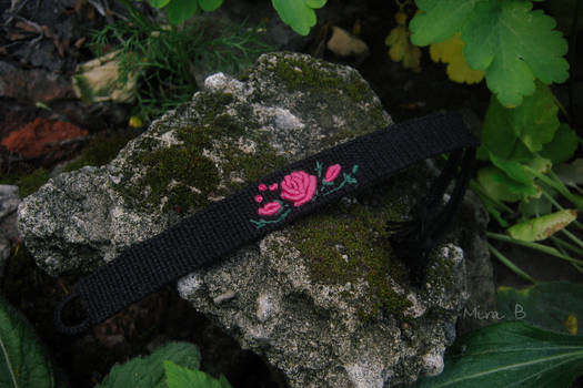 Bracelet with hand embroidered rose