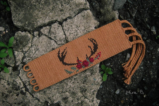 Floral antler. Bracelet with hand embroidery