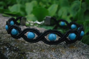 Black + Turquoise Micromacrame Bracelet
