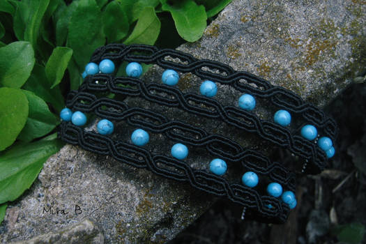 Black + Turquoise Micromacrame Bracelets