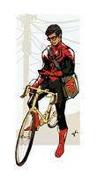 Spiderman On a Bike Texting