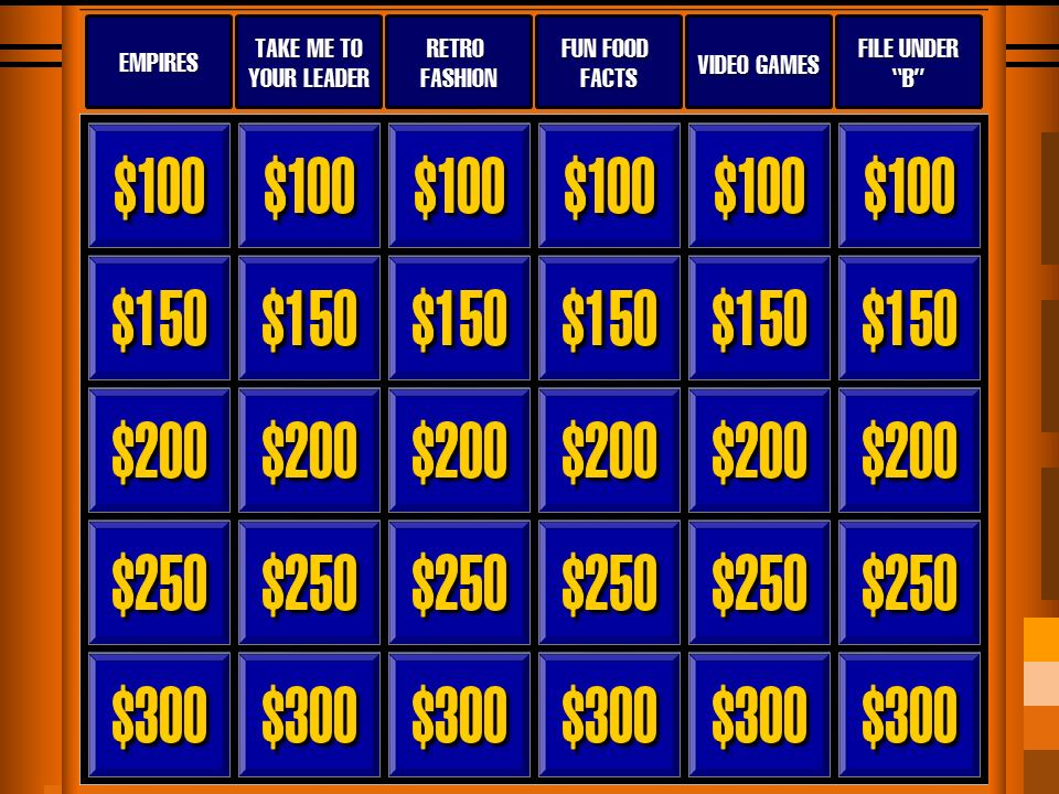 Mark's Daytime Jeopardy Board 2015 by LeafMan813