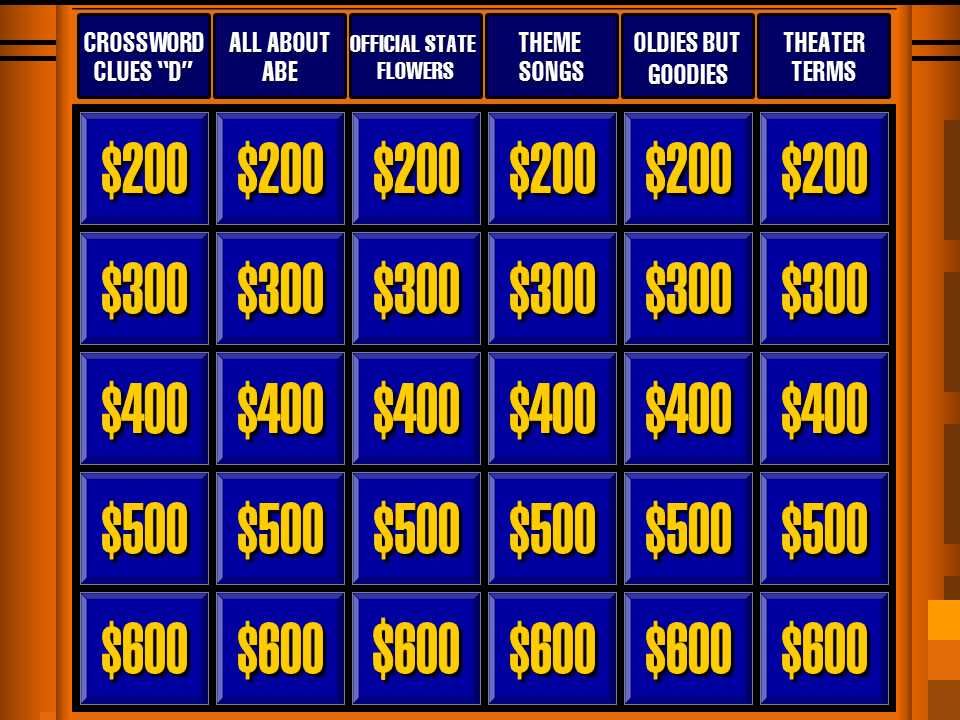 Mark's Daytime Double Jeopardy Board 2015 by LeafMan813