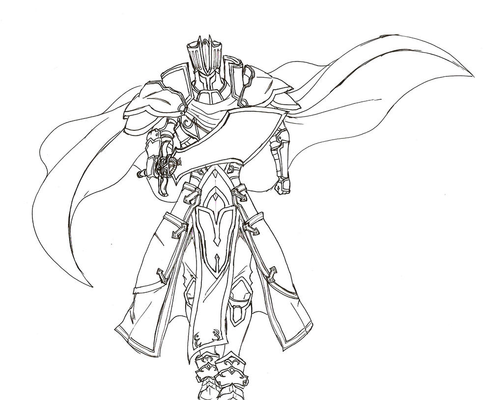 Line Drawing Knight : Collab the black knight by zero mtk on deviantart