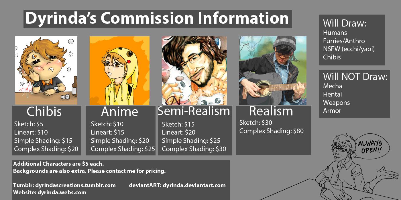 Commission Info Sheet --UPDATE-- by Dyrinda