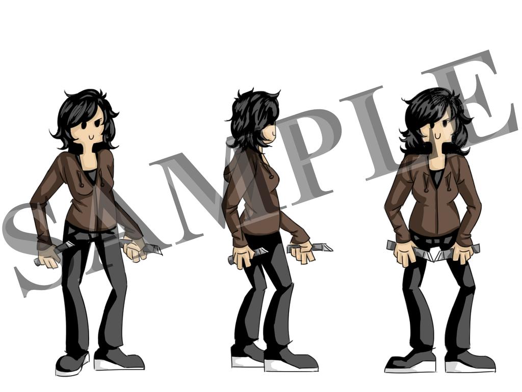 Game Character Designs - Margie SAMPLE by Dyrinda