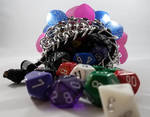 Blue + Pink Feathered Scalemaille Dice Bag by NebulaDraconian