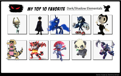 My top 10 favorite shadow or dark users characters by LopDrieuna